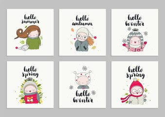 Set of invitations cards, posters, with children in cute beanies and hand drawn lettering - hello spring, summer, winter, and autumn. Vector illustrations.