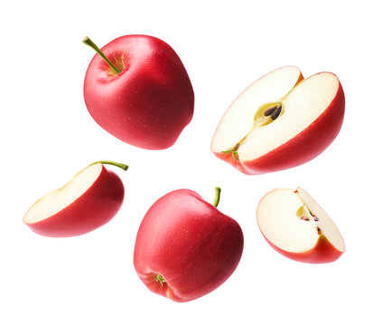 Set of red apple isolated on white background