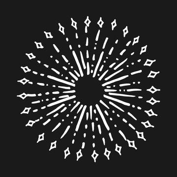 doodle design element. hand drawn of spark firework. vector illustration isolated on black background.