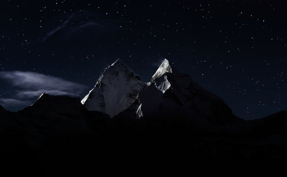 Top of mount in the clouds at night, Nepal