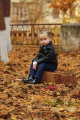 toddler girl  in fall