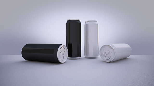 Mockup picture of 3d rendering of white and silver cans.