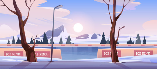 Photo sur Aluminium Dauphins Empty outdoor ice rink for skating, skiing and fun winter activities. Vector cartoon illustration of frozen landscape with mountains, trees and snow on evening or morning scene.