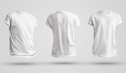 Set of blank men's t-shirts with shadows, front and back view. Design template on a white...