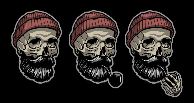 Skull of a sailor in a knitted hat and with a tobacco pipe. In three options. Vector illustration.