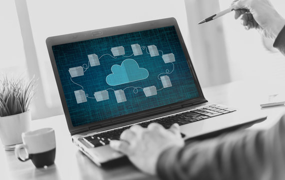 Cloud storage concept on a laptop screen