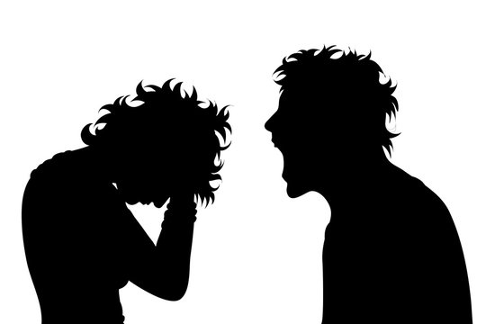 Vector silhouette of couple on white background. A man screaming on woman. A woman craying. Symbol, of anger, violence, screaming, ire, venom, bullying, tyrannical.