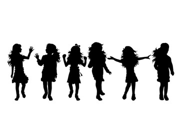 Vector silhouette of collection of girls in different pose on white background. Symbol of child, children, friends, school, student, nursery, chidlhood, people, healthy, dance, body.