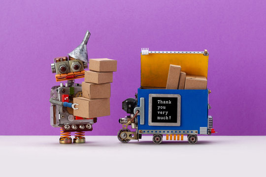 Autonomous delivery robot, local transportation robotic self driving device with parcels delivered from shop. Funny robot toy received a different size boxes from a courier. Violet background