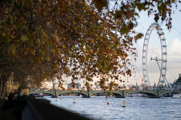 The London Eye is seen during a clear autumnal morning in Westminster in London