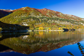 Reflections in Lake Scanno in Abruzzo in L'Aquila