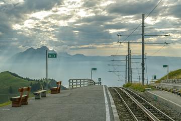 Train station on top of Mount Rigi in canton of Schwyz in Switzerland