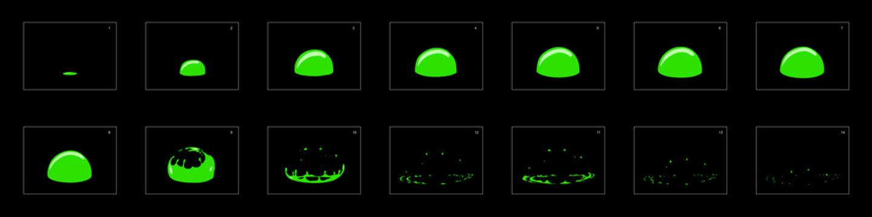 Bubble blast animation effect. liquid bubble animation. bubble blast effect frame by frame animation sprite sheet for game development, motion graphic or mobile games.