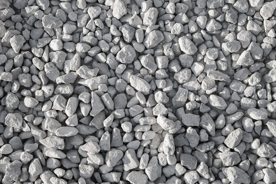 Gray industrial gravel on the ground