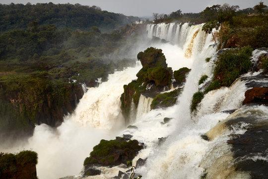 waterfall cascade fall wet iguazu