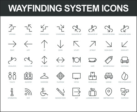 Set of vector fully scalable wayfinding system icons