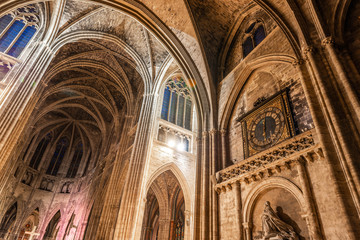 Interior of the Cathedral Saint-André of Bordeaux in Gironde in New Aquitaine, France