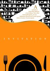 Carte d'invitation à diner, couleur orange avec un motif d'ustensiles de cuisine.