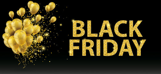 Golden Balloons Particles Black Friday