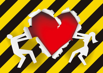 Love under construction, paper background. Torn paper with man and woman silhouettes with torn heart symbol symbolizing relationship crisis. Vector available.