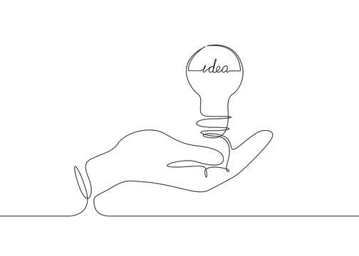 continuous line drawing light bulb symbol idea