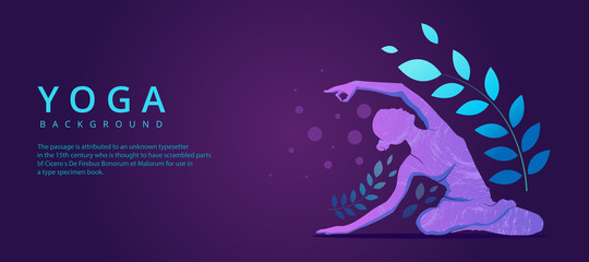 Yoga banner background, Health and fitness concept
