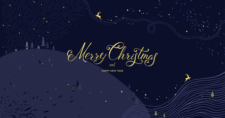 Wall Mural - Winter Holidays banner design. Website or social media long header template for Christmas celebration with sparkles and space for text.