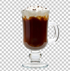Irish coffee in original glass isolated on checkered background including clipping path