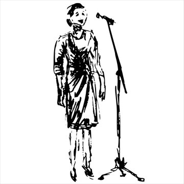 Vocalist singer in front of a microphone on stage - black and white hand drow vector illustration