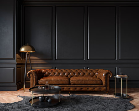 Modern classic black interior with capitone brown leather chester sofa, floor lamp, coffee table, carpet, wood floor, mouldings. 3d render interior mock up.