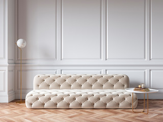 Classic white interior with capitone chester sofa, mouldings, wooden floor, floor lamp, coffee table. 3d render illustration mock up. Fotomurales