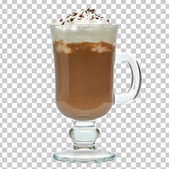 Foto auf Acrylglas Schokolade Latte with cream in original irish coffee mug on white background included clipping path
