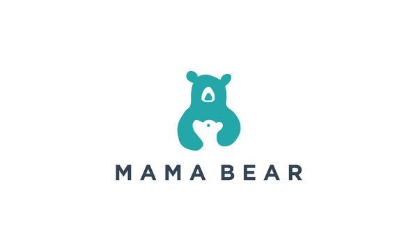 baby bear and mom logo design inspirations