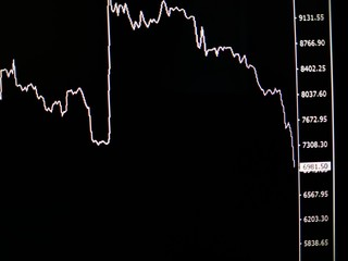 horizontal photo of the price of world digital currency bitcoin on a black background