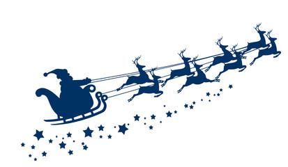 Santa Claus in a sleigh.