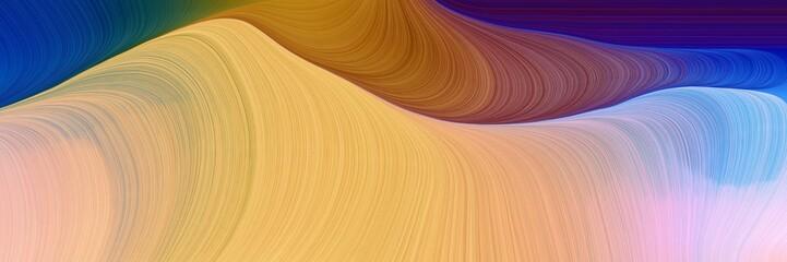 Fotobehang Fractal waves modern waves background illustration with burly wood, midnight blue and light steel blue color
