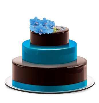 A multi layered chocolate cake with Blue orchid branchand decor on dish. Vector illustration