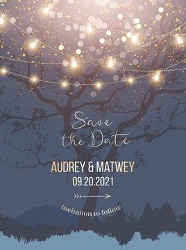 Night Christmas garden full of lights and snow vector design invitation frame