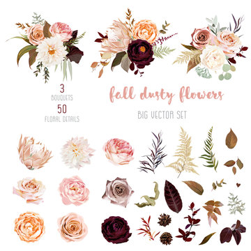 Floral pastel watercolor style big vector collection