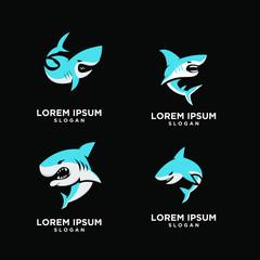 set of blue shark fish predator logo icon design vector illustration
