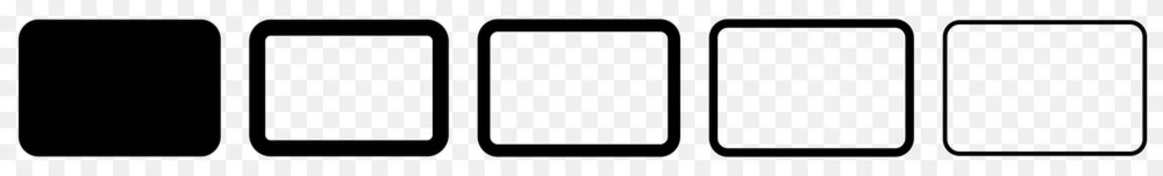 Rectangle Icon Black | Rounded Rectangles | Blank Box Symbol | Empty Frame Logo | Button Sign | Isolated Transparent | Variations