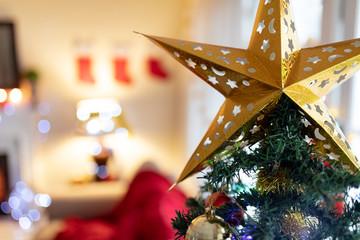 Christmas tree at home at Christmas time