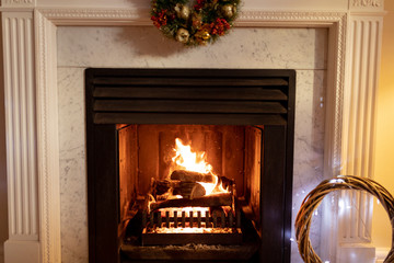 Fireplace at Christmas time