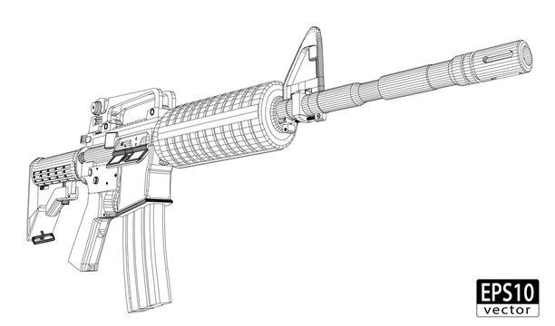 Assault Gun Wireframe (Front) | EPS10 Vector