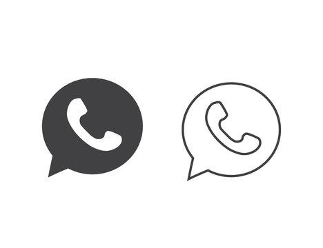 Button phone with shadow. Line Icon Set logo, symbol, app, web, ui. Vector