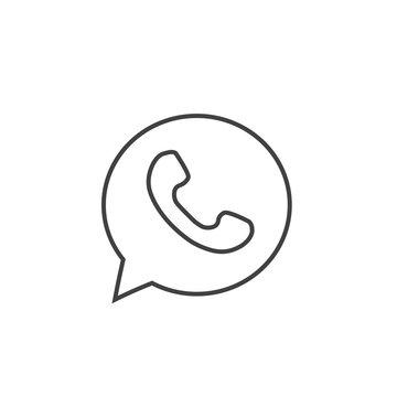 Button phone with shadow. Line icon logo, symbol, app, web, ui. Vector