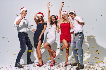 Group of people celebrating Christmas isolated