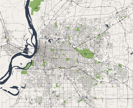 map of the city of Memphis , Mississippi, USA