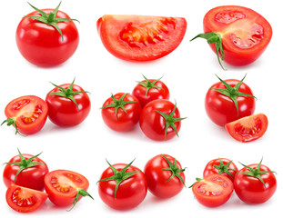 Fototapete - Collection of fresh tomato isolated on white background