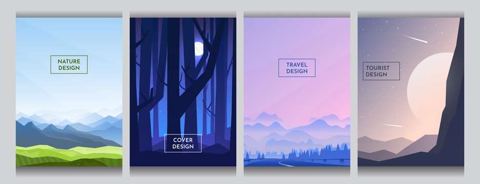 Green meadow and blue mountains, moon light behind night forest trees, gradient wavy hill near road, abstract  huge sunset at minimalist style. Flat backgrounds set. Cover template design. Page layout